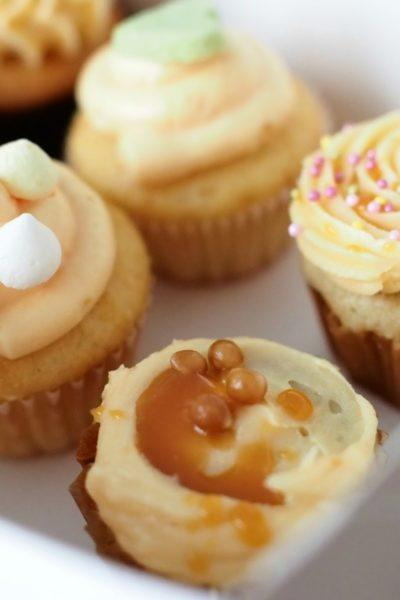 Banaani-Kinuski Cupcakes