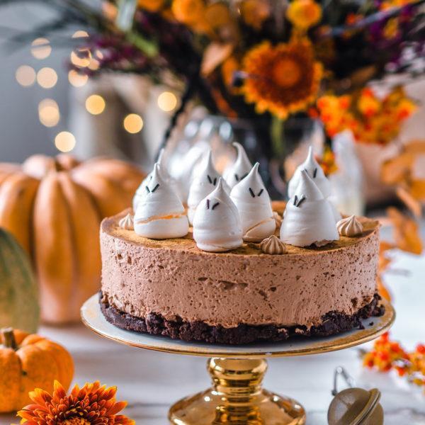 Halloweenin Suklaa-lakujuustokakku (Ve)